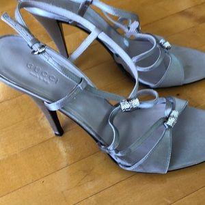 Gucci Satin Jewel Encrusted Bow Horsebit Heels